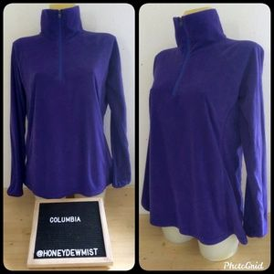 COLUMBIA Purple Fleece Partial Zip Turtleneck